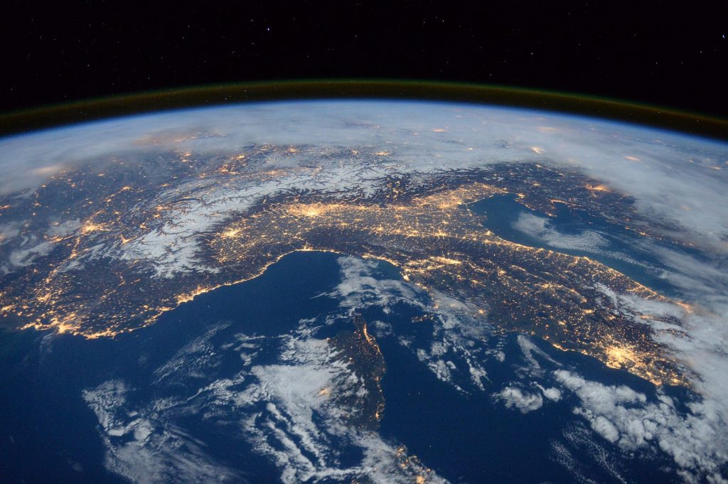 Mushroom Cultures now shipped internationally! An image of the earth lit up from space.
